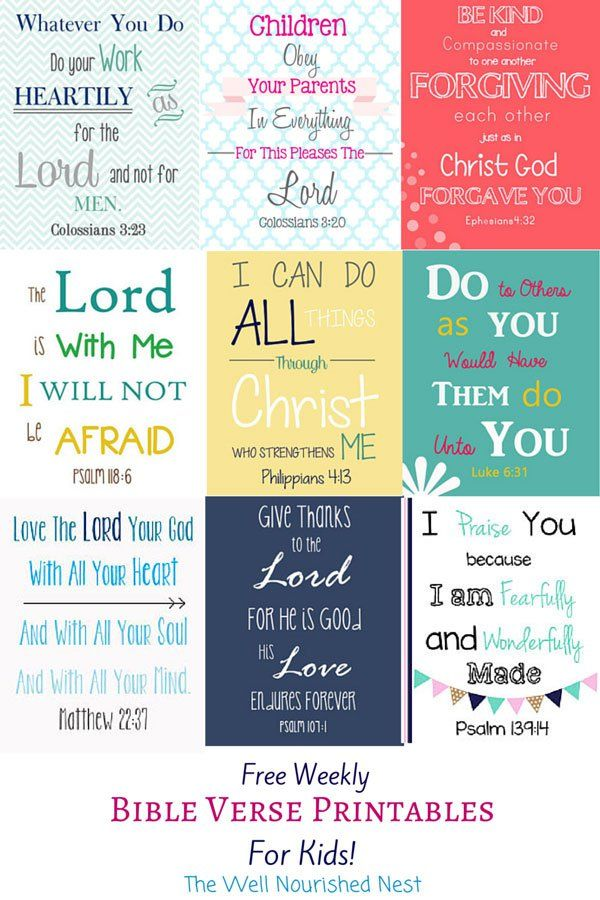 Bible verses for kids free printables! There's a new one every week!