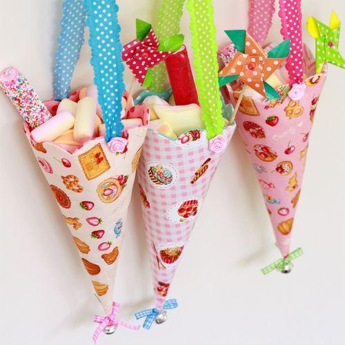 Candy cones @ hiphandwerk, zo mooi, schattig en lief! Leuk als traktatiezakje...