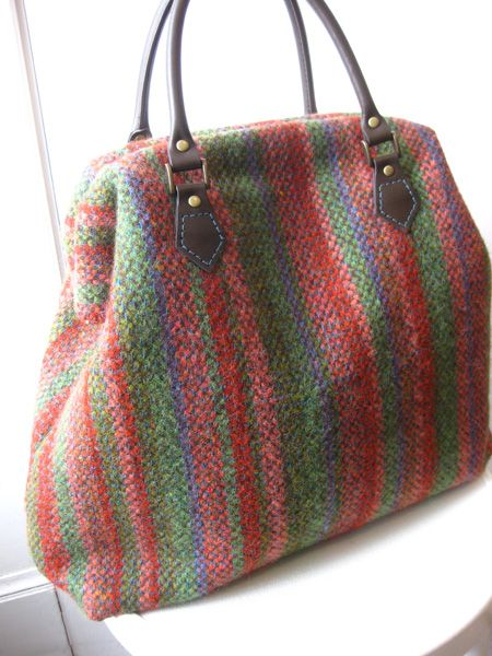 Carpet bag made from woven tweed - fabric lined
