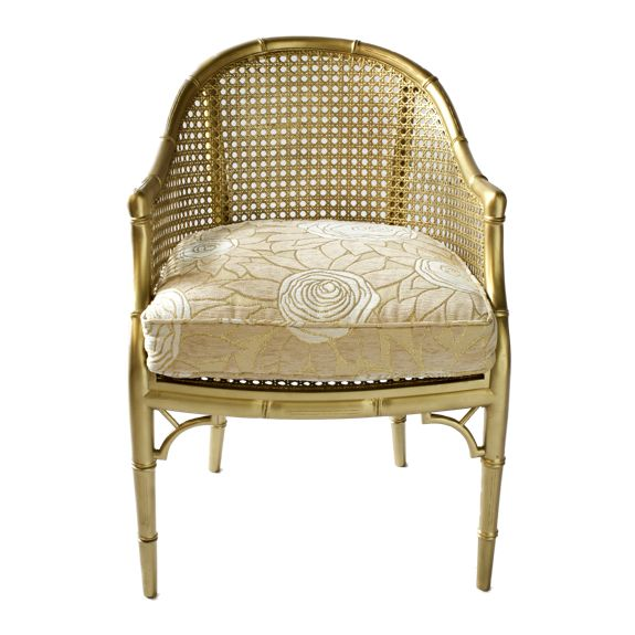 gold bamboo style bucket chair / H & H Home