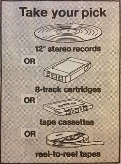 Columbia Record Club allowed you to choose whether you wanted you music sent to you in the form of reel to reel tape, cassette tapes, 8-track tapes, or 12 LP vinyl records