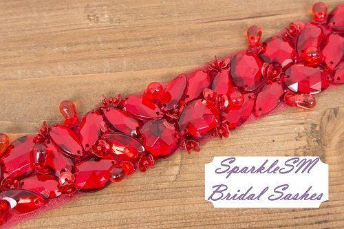 Rojo marco nupcial boda cinturón nupcial marco por SparkleSMBridal