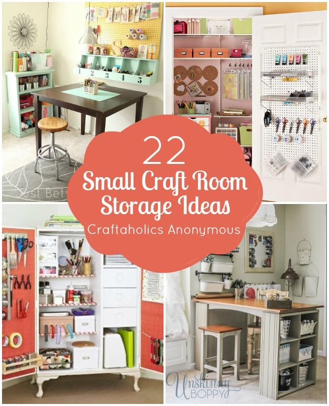 "Do you have a small space to create in? Here are so awesome storage ideas for a small craft room or space! Suggestions below were taken from this thread on the Craftaholics Anonymous® Facebook Page. ""I need help. I'm moving into a small hous"