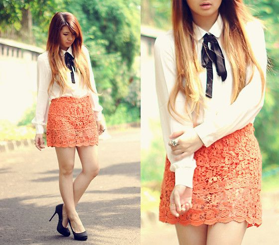 Asian I Candy Cutie Tie Chiffon Shirt, Lace Skirt, New Look Shoes