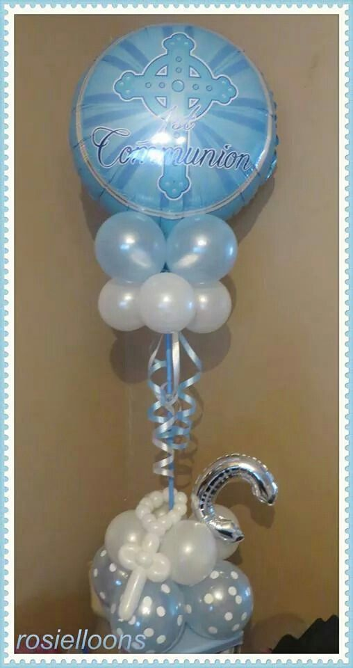 245 best images about primera comunion on pinterest for Balloon decoration ideas for christening