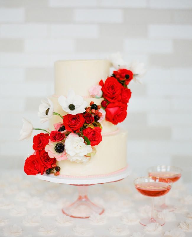 Poppy Red Anemone Covered Cake | https://www.theknot.com/content/top-most-amazing-wedding-cakes-of-2013