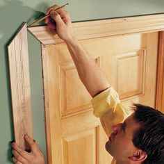 Mark, Don't Measure - Holding trim in place and marking it is always more accurate than measuring, often faster and iteliminates mistakes. This is good advice for other types of carpentry work too, like siding, laying shingles and sometimes even framing.