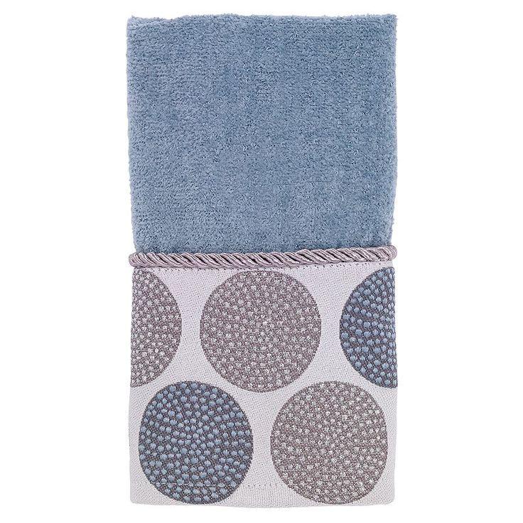 Avanti Dotted Circle Fingertip Towel, Blue