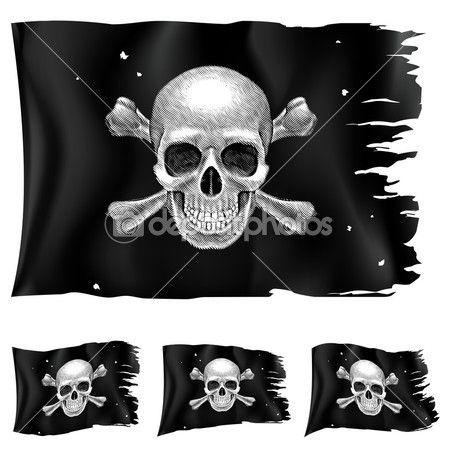 Три вида пиратский флаг — стоковая иллюстрация #11040566
