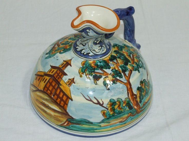 Jarra de cerámica base ancha 15 cm. Pintado a mano con imagen de un Castillo. Precio: 48,70€ http://www.artesania-alla.es