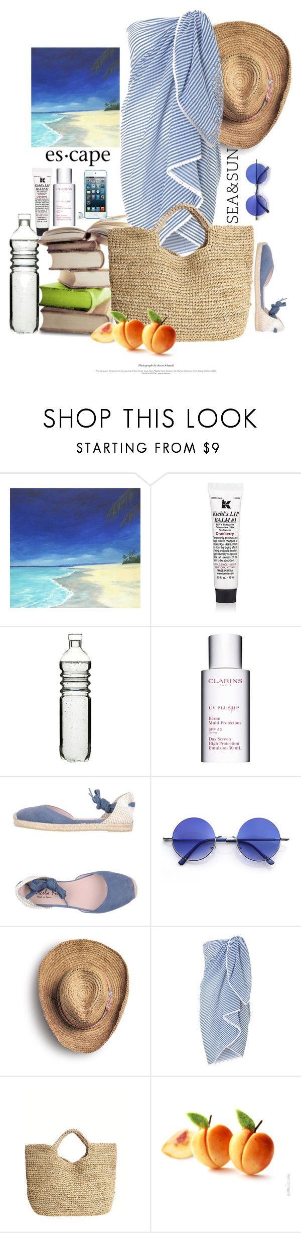 """La Plage / The Beach"" by halfmoonrun ❤ liked on Polyvore featuring Kiehl's, Sagaform, Clarins, Marcela Yil, Retrò, Sperry, Dickins & Jones, Flora Bella, contest and TropicalVacation"