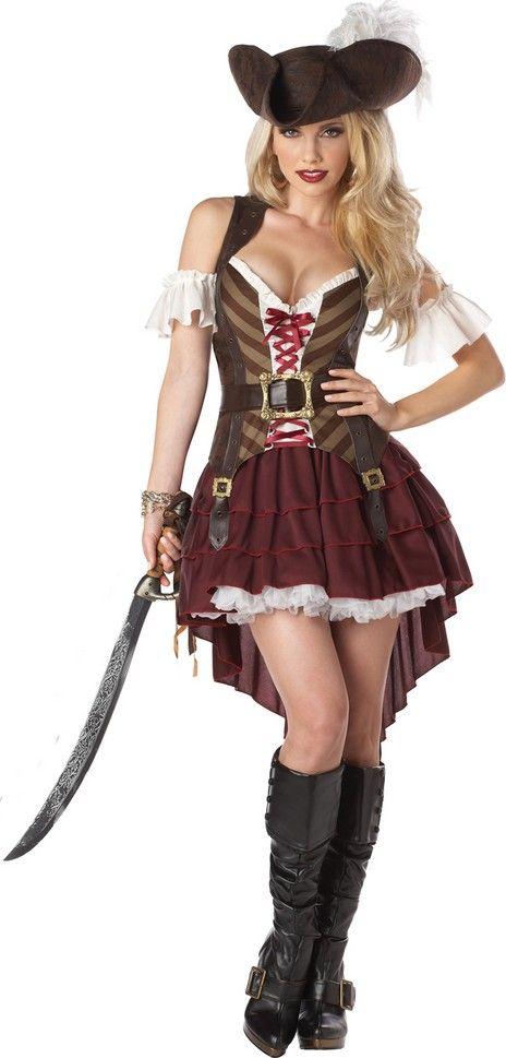 Disfraz pirata aventurera mujer: Este disfraz de pirata aventurero para mujer incluye camiseta, mangas, falda, cinturón y gorro (enagua, botas y espada no incluidos).La camiseta es sin mangas y hace de chaleco de corsaria. Se...