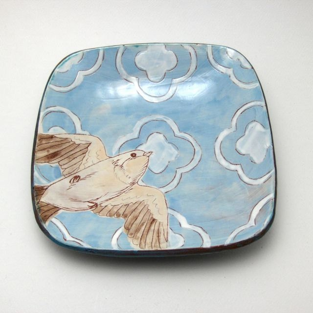Plate with Hand Drawn Bird and Pattern - OOAK. $68.00, via Etsy.