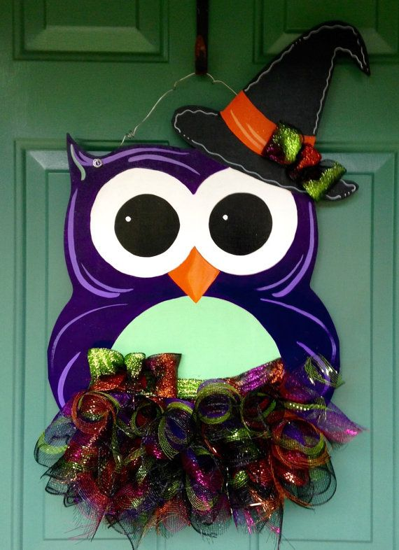 Halloween Owl Door Hanger Halloween Door by MyBelovedReclaimed
