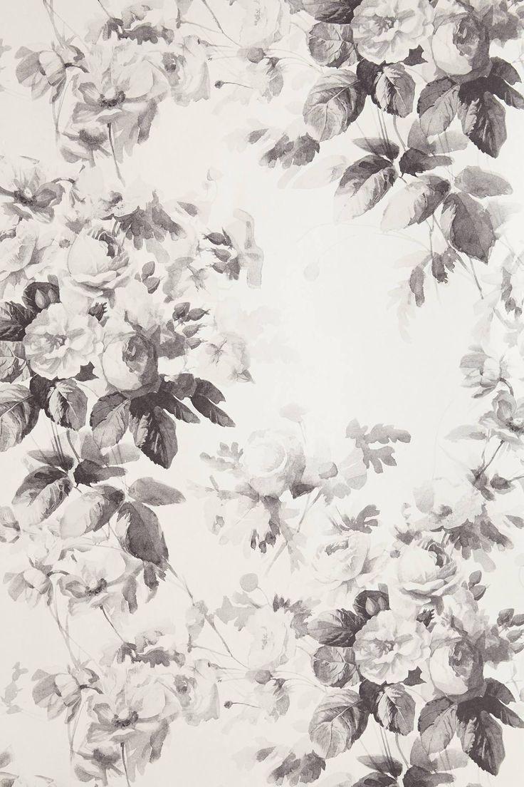 Black floral print wallpaper dark floral wallpaper by ellie cashman - Smoky Rose Wallpaper Anthropologie Com Floral Print
