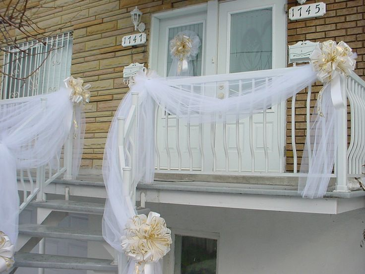 Gold Amp White Wedding Door Bow Amp Railing Tulle Drapes 2
