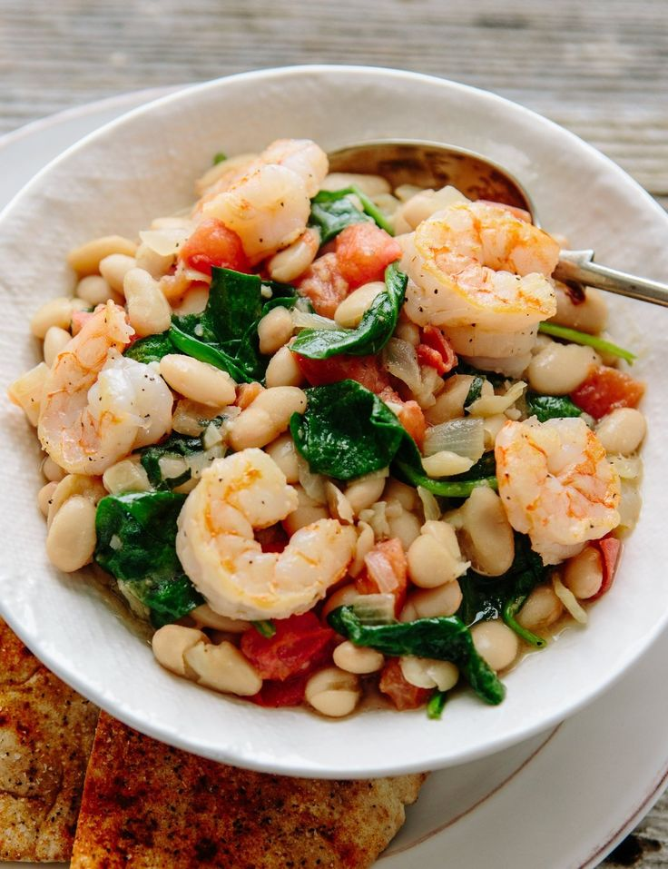 Shrimp with White Beans, Spinach, and Tomatoes - made 1/16 with mods. Nice - lighter version of the bean/sausage recipe we do. Add spinach at the very end. Cooked the shrimp in the skillet first and set aside, then used the same skillet for the recipe. Subbed borlotti beans (& their canning liquid instead of chicken stock), canned tomato, and parsley. Added sriracha (which S didn't like), cayenne, and red pepper. Would make again.