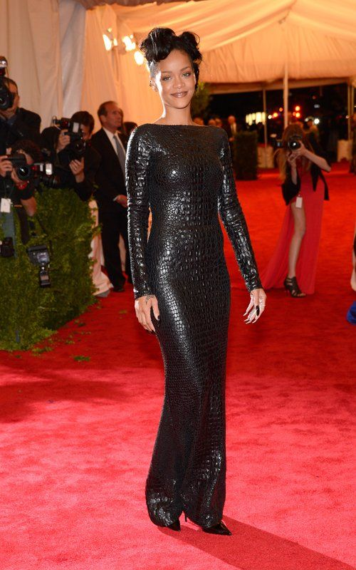 Rihanna 2012 Style Icon Fashion Red Carpet Chic In An Alligator Tom Ford Backless Dress With