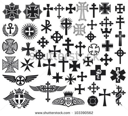 Big collection of vector isolated crosses (crosses set)