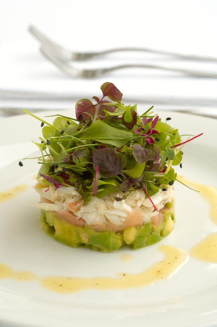 Crab, Avocado, Pickled Ginger and Baby Herbs with Lemon Dijon Vinaigrette. #plating #presentation