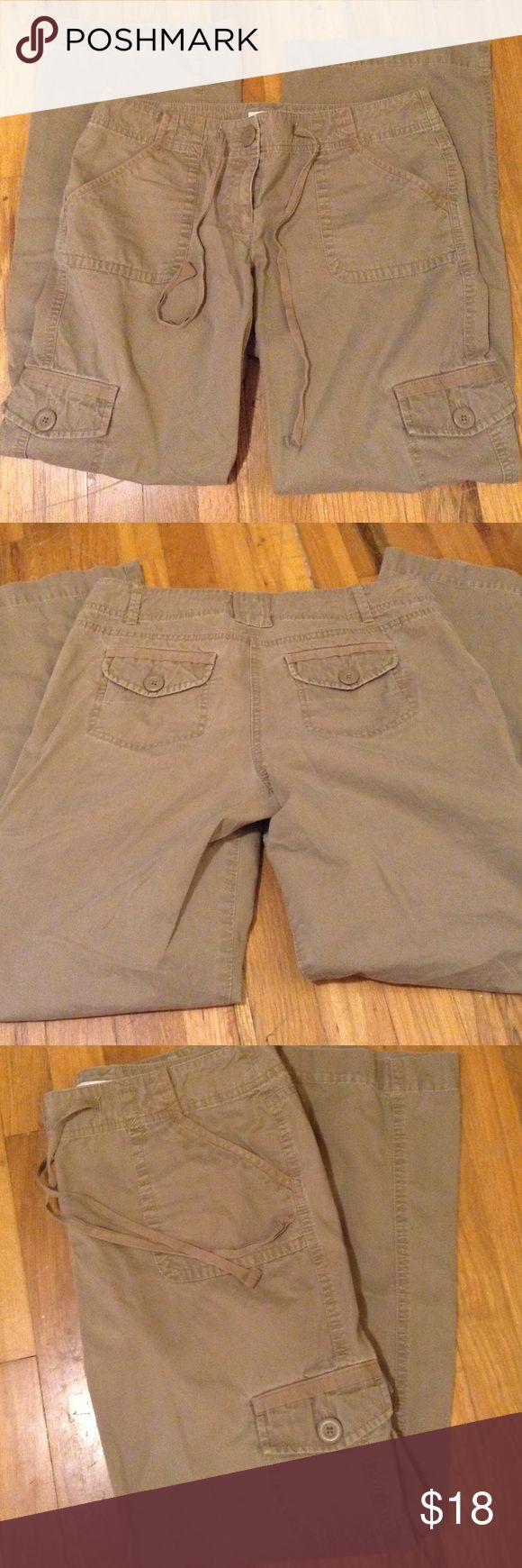 Khaki cargo pants Great condition khaki cargos with leg pockets and string tie. LOFT Pants Wide Leg