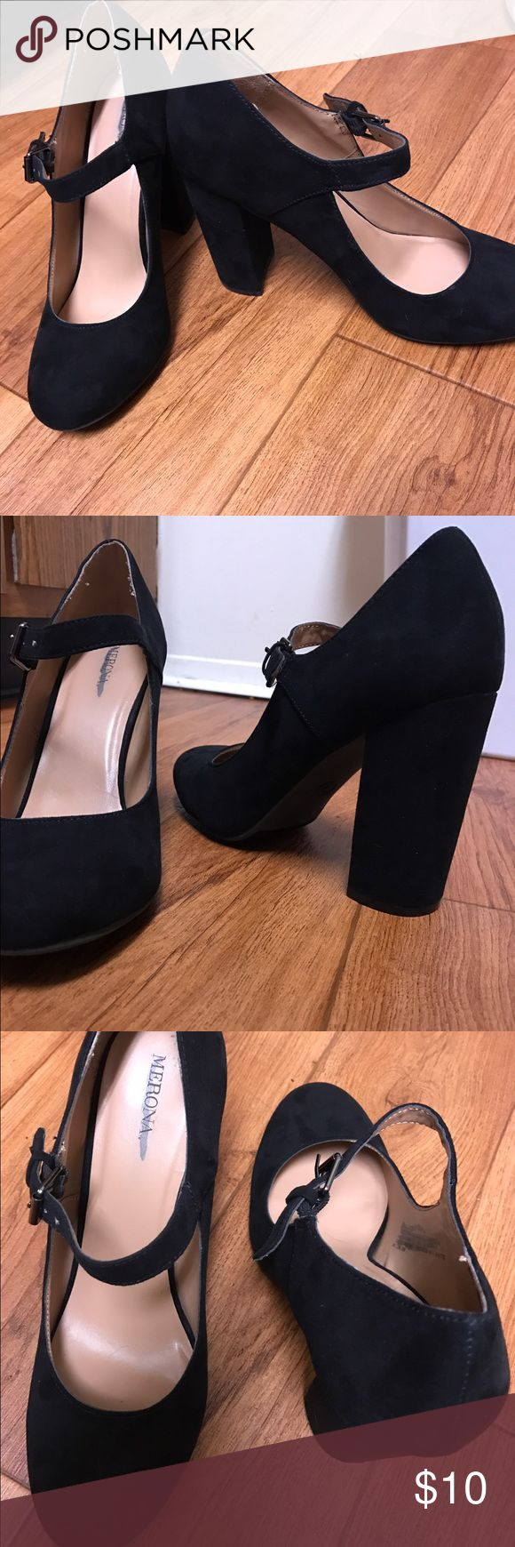 LIKE NEW! Merona Black Suede-like Mary Jane Heels Merona black suede-like Mary Jane style 4-inch heels. These are a re-Posh. Super cute, but about 1 inch too tall for me! They look brand new! Size 9. Buy 3 or more items from my closet and receive a 20% discount!! Merona Shoes Heels