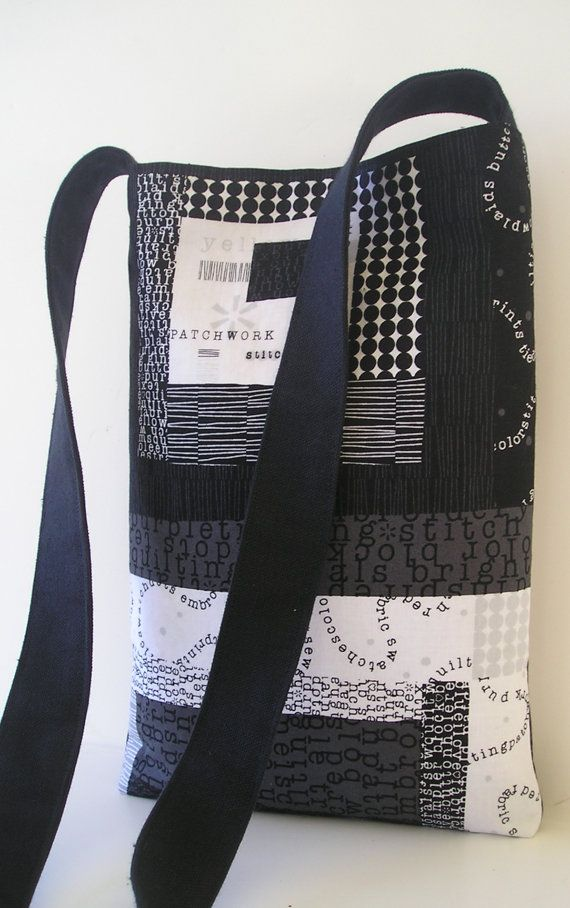 Messenger Bag in Patchwork Black and White by jazzygeminis on Etsy, $20.00