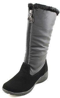 Khombu Amber Women W Round Toe Synthetic Black Snow Boot.