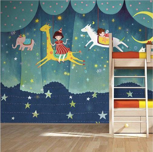 """Fantasia per bambini parco giochi carta da parati carosello parete murale giostra Nursery - 3 colore rosa blu verde luna e stelle 55 """"x 35"""" di DreamyWall su Etsy https://www.etsy.com/it/listing/233729678/fantasia-per-bambini-parco-giochi-carta"""