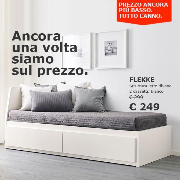 FLEKKE Struttura letto divano/2 cassetti bianco 80x200