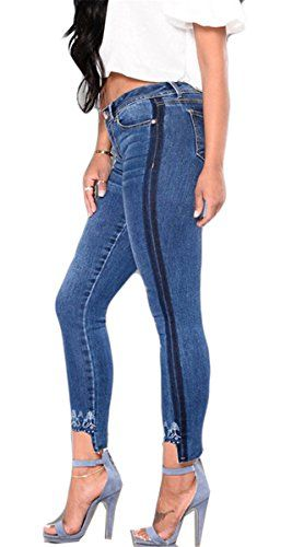 e89794ee4790f7 Femmes Fille Haute taille broderie Stretchy Paneled Bodycon Skinny Denim  Pants Pantalons Jeans