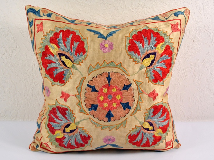Vintage suzani pillows tribal hand embroidered