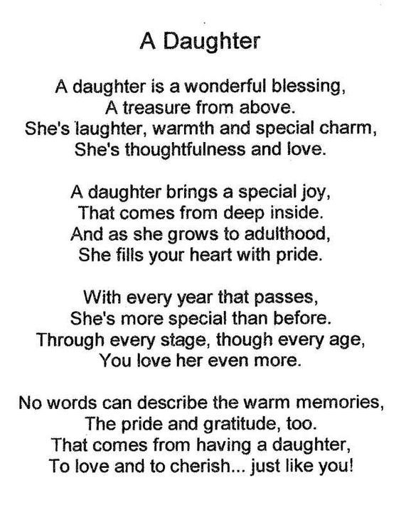 A Daughter Is A Wonderful Blessing