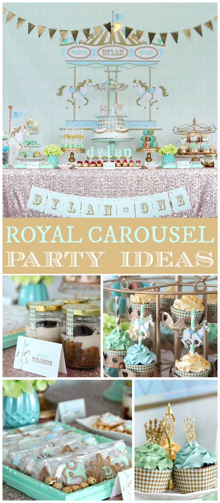 Love the mint and gold color scheme in this royal carousel party! See more party planning ideas at CatchMyParty.com!