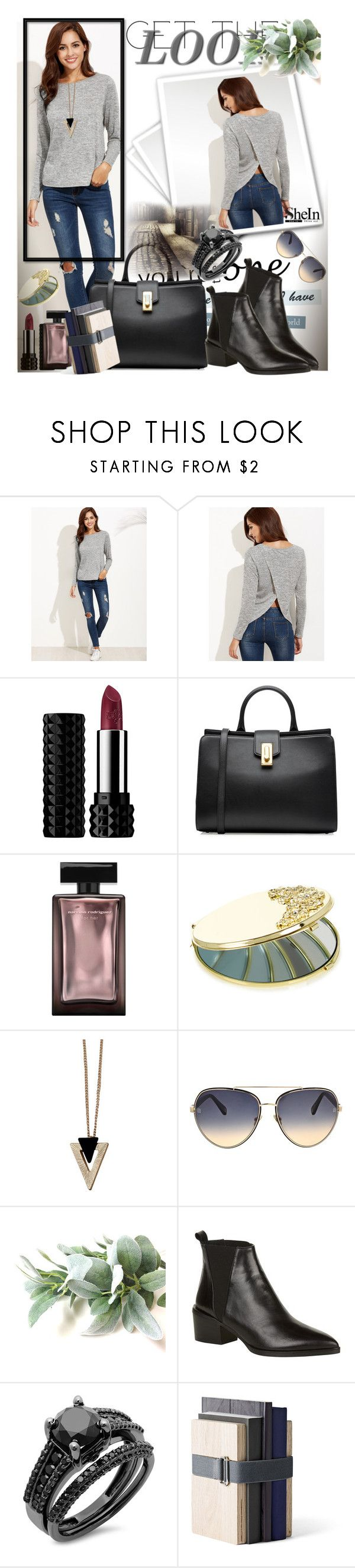 """""""T-shirt from Shein"""" by manuela-cdl ❤ liked on Polyvore featuring Kat Von D, Marc Jacobs, Monsoon, Chicnova Fashion, Oscar de la Renta, Whistles and Menu"""