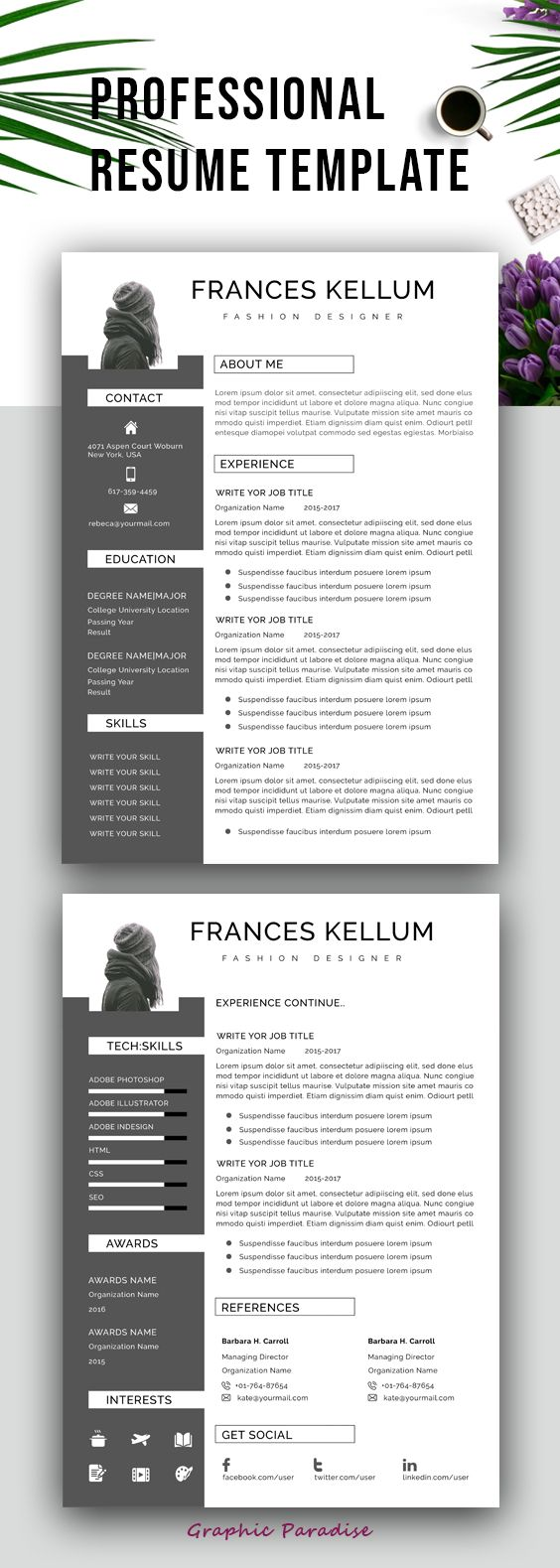 Resume template word, Professional resume template instant download, Resume writing, CV, Curriculum vitae, Resume template free,Cover letter #resume #resumetemplate #cv #cvtemplate