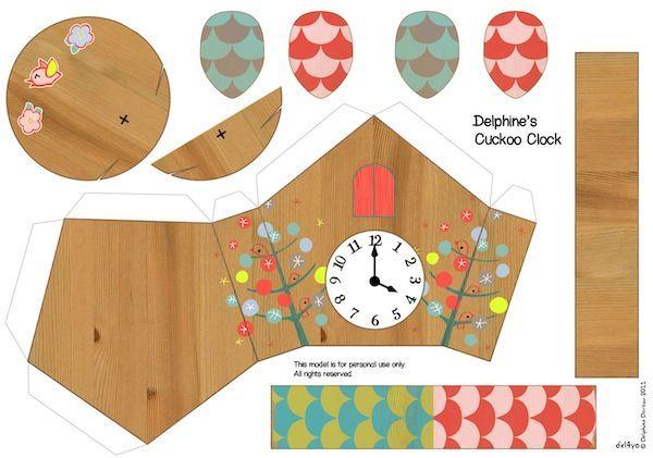 Cuckoo clock paper toy