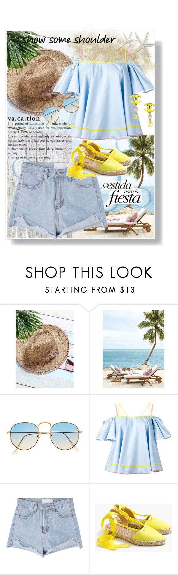 """""""Vacation"""" by gmg5 ❤ liked on Polyvore featuring Anna October, J.Crew, Chanel, beach and offshoulder"""