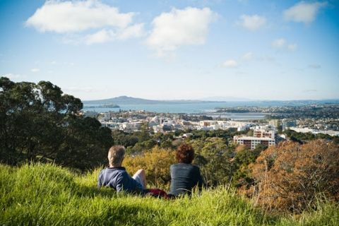 Mt Eden - dormant volcano in the middle of Auckland, with panormaic 360-degree views of Auckland and surrounds.