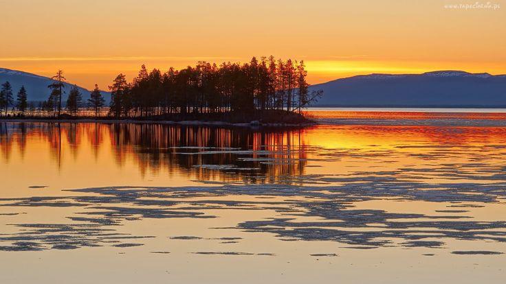 Jezioro, Góry, Wysepka, Drzewa, Wschód, Słońca