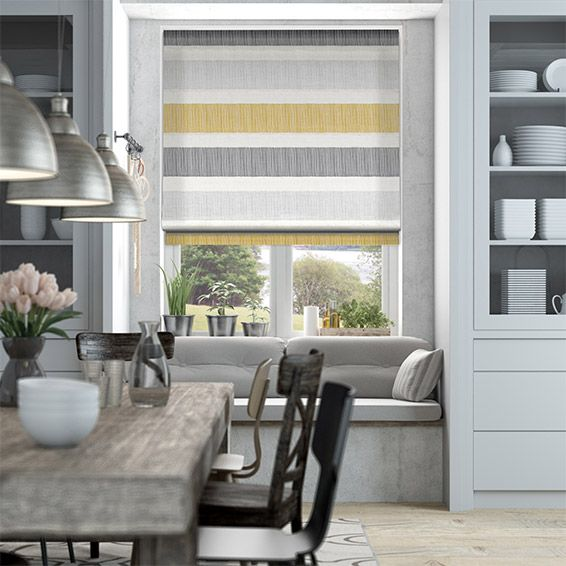 Cardigan Stripe Flax Grey Roman Blind from Blinds 2go