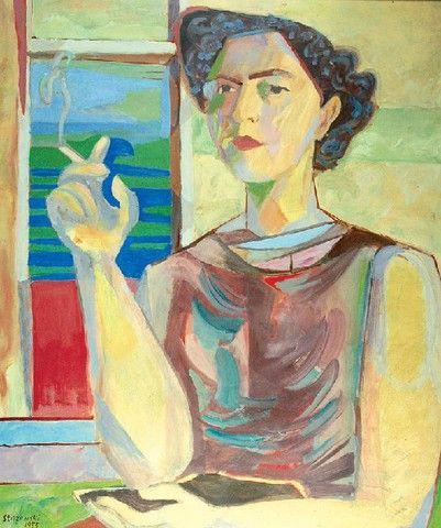 Henryk STAŻEWSKI (1894 - 1988)  Portret kobiety z papierosem olej, tektura, 70 x 58,3 cm; sygn. l. d.: Stażewski / 1955
