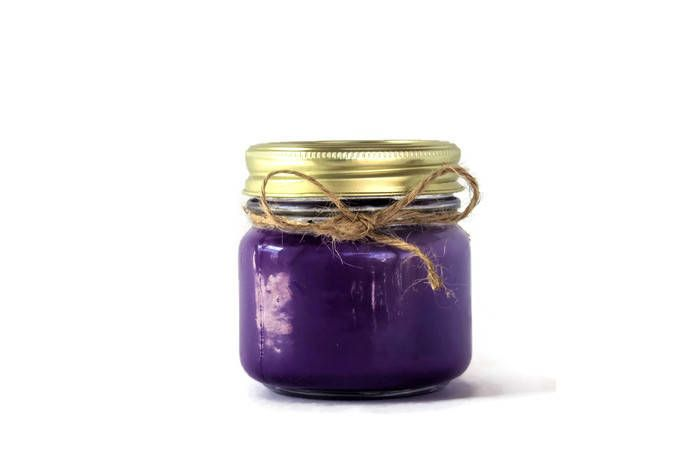 Mason Jar Candles | Floral Candle | Scented Soy Candle | Purple Candles | Flower Candles | Soy Candle Gift | Lilac Scented Candle by RyleeRayCreations on Etsy