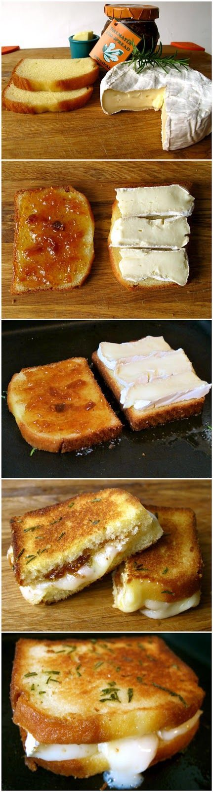 Savory grilled cheese sandwich: rosemary butter, brie, fig preserves, and pound cake.