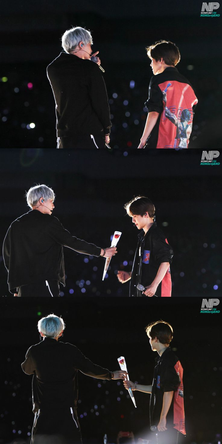 Lotte Family Concert 150525 : Chanyeol giving Baekhyun a rose