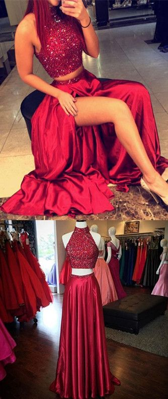 Two Pieces Charming Real Made Prom Dresses,Long Evening Dresses,Red Prom Dresses,two pieces prom dress