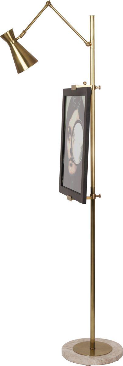 Robert Abbey (706) Jonathan Adler Bristol Adjustable Easel Floor Lamp shown in Antique Brass & Honed Travertine Base