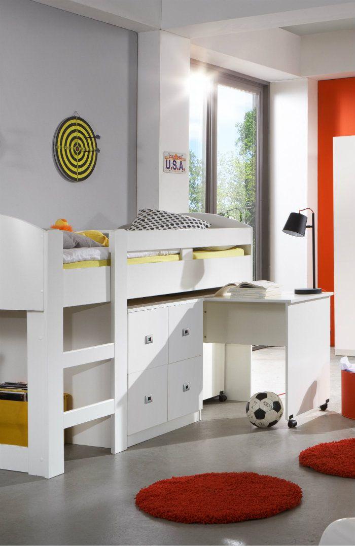 wimex hochbett lenny mit schreibtisch und kommode 90 x. Black Bedroom Furniture Sets. Home Design Ideas