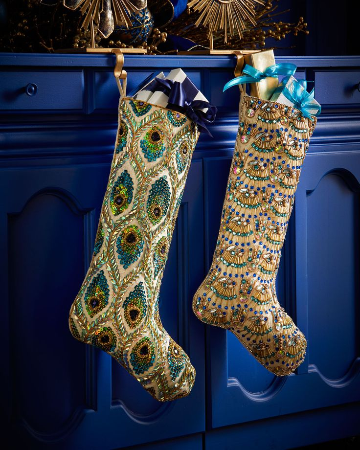 Kim Seybert Peacock Christmas Stocking