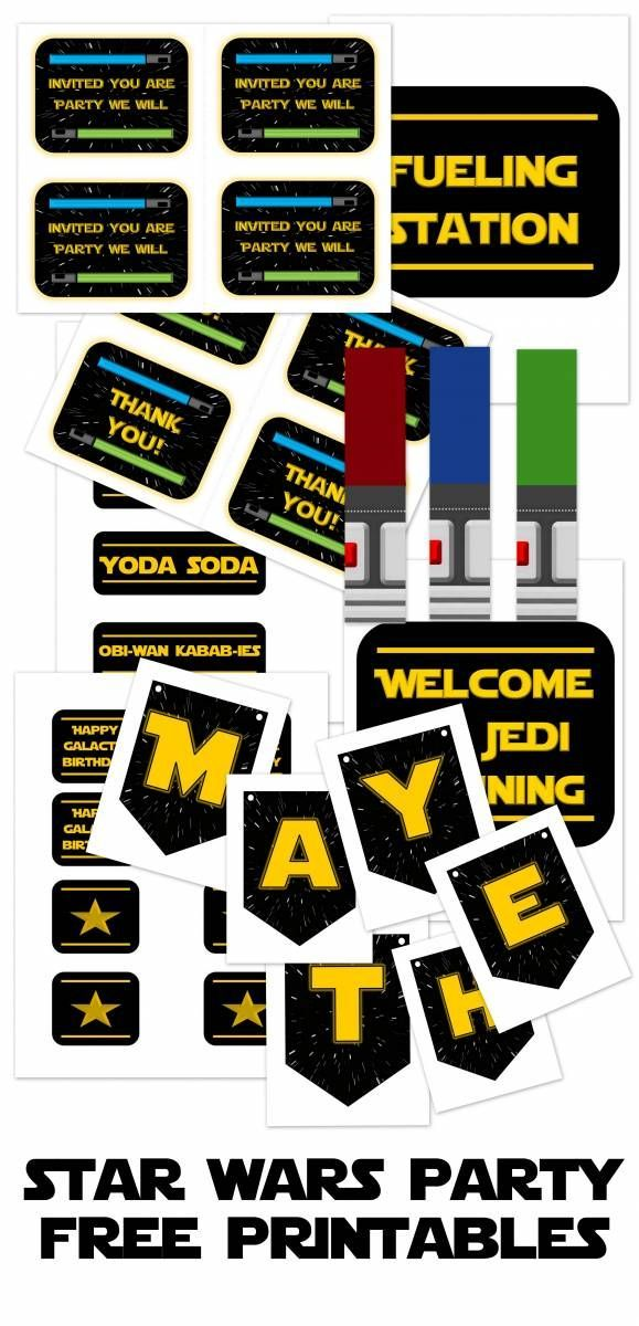 star wars party printables, games and menu ideas